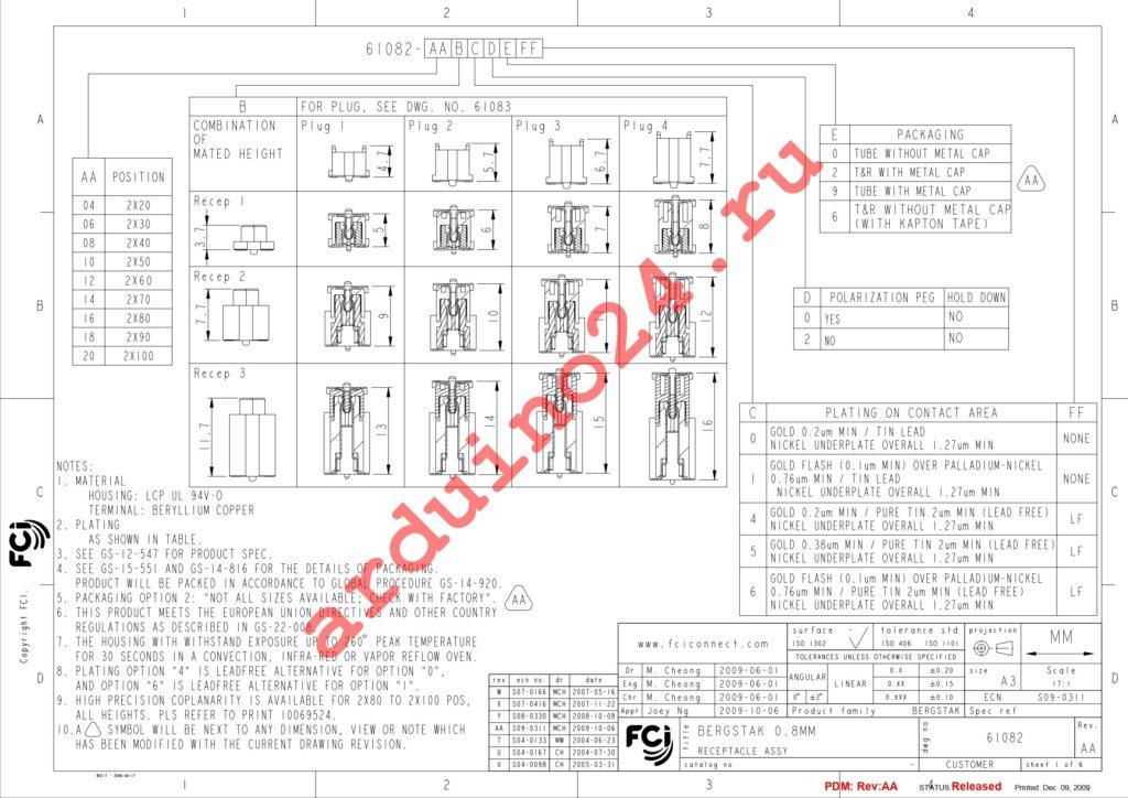 61082-101609LF datasheet