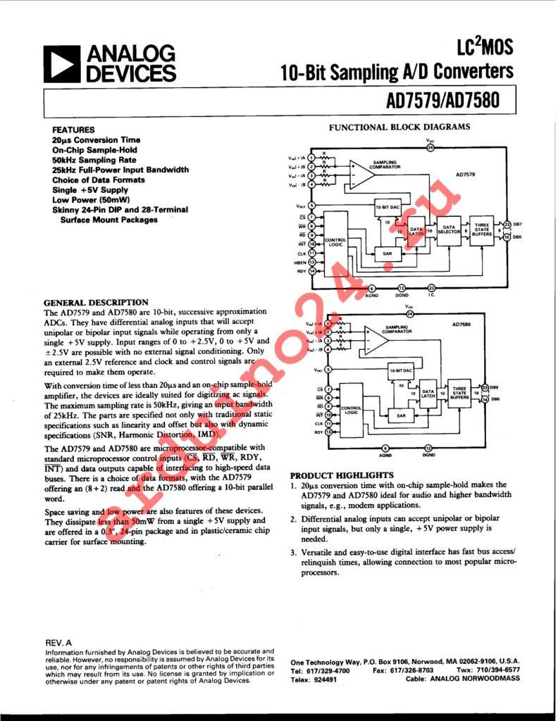 AD7579JP datasheet