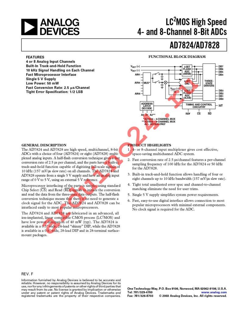 AD7828KN datasheet