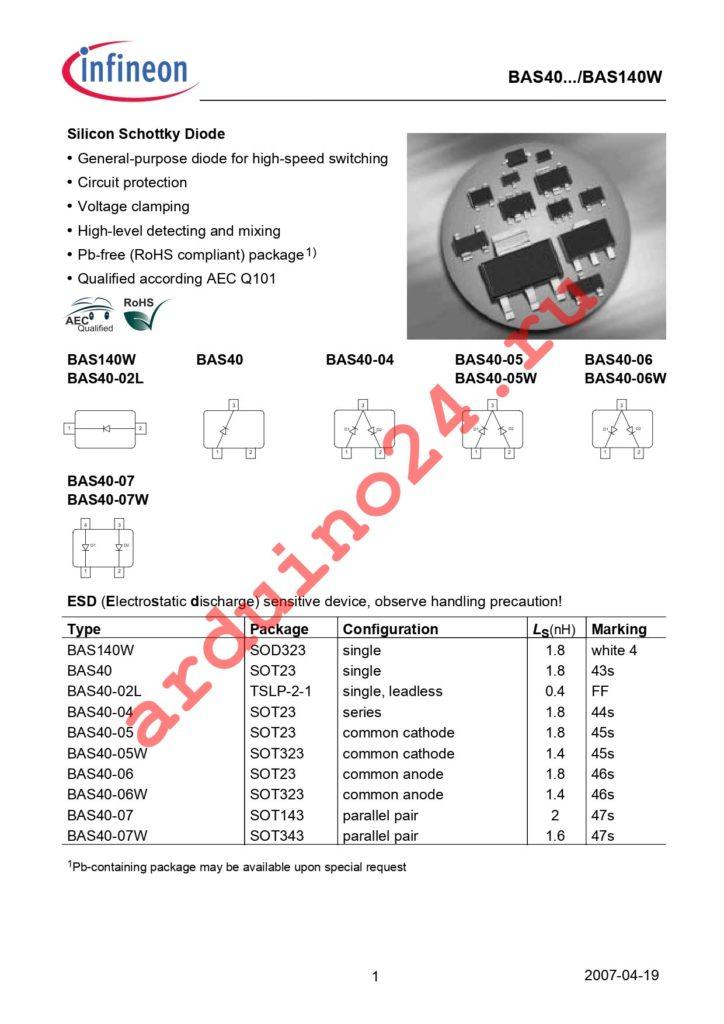 BAS 140W E6327 datasheet