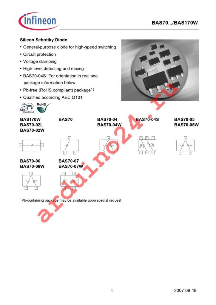 BAS 170W E6327 datasheet