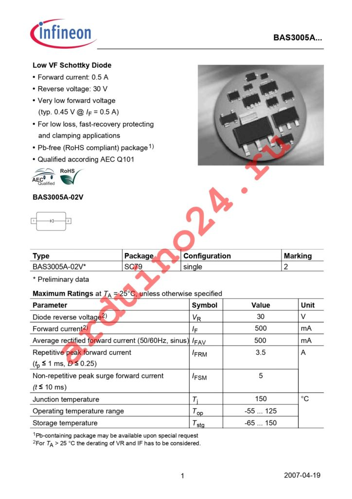 BAS 3005A-02V E6327 datasheet