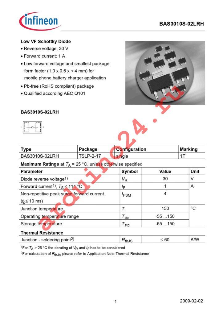 BAS 3010S-02LRH E6327 datasheet