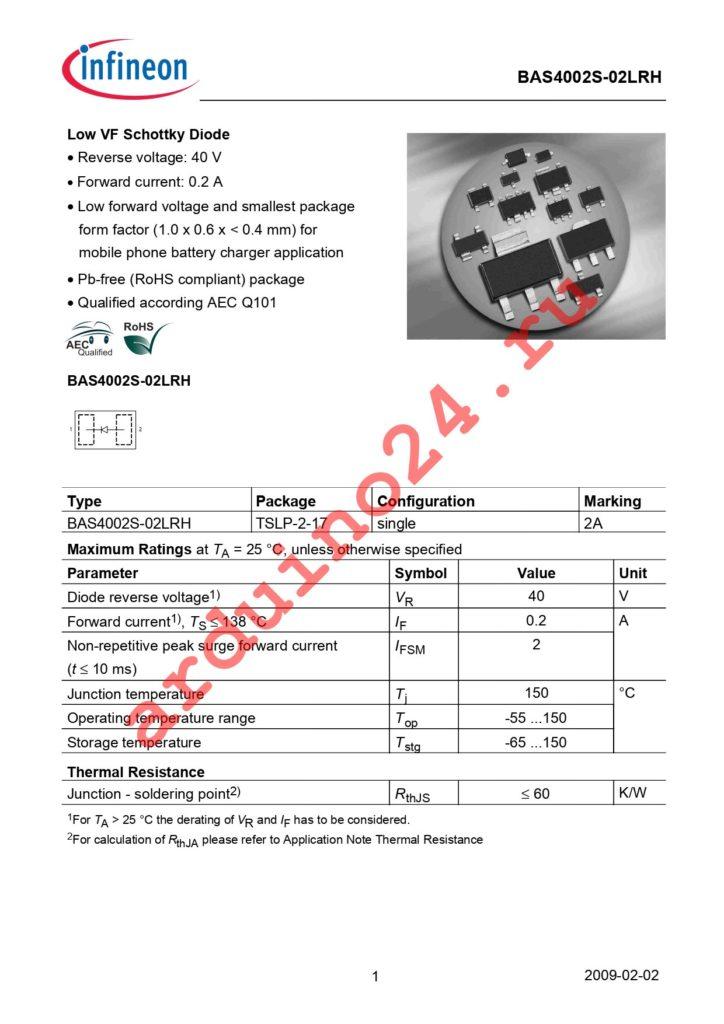 BAS 4002S-02LRH E6327 datasheet