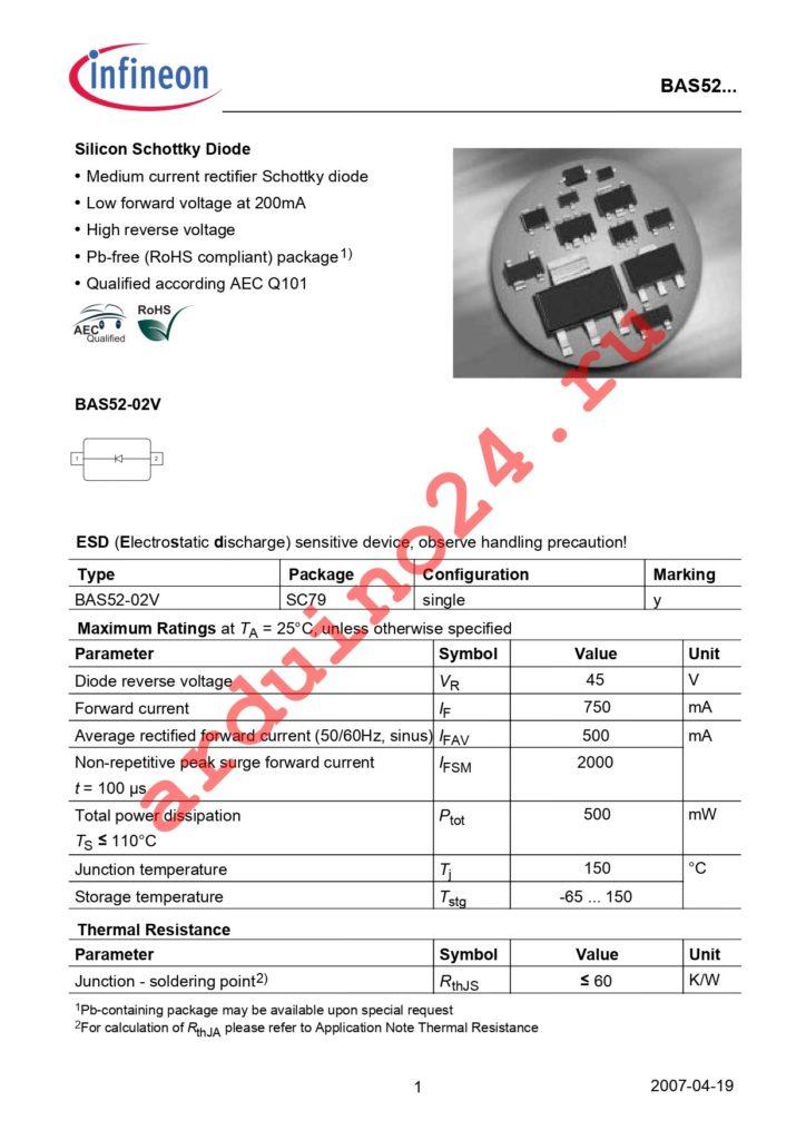 BAS 52-02V E6327 datasheet