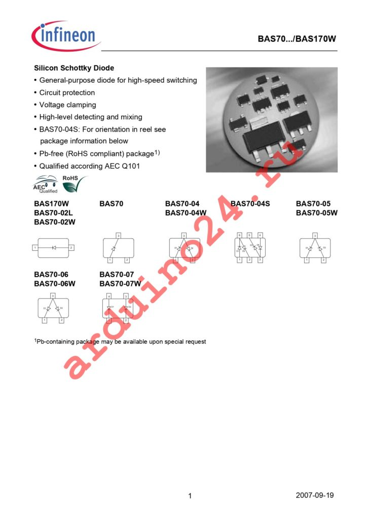 BAS 70-02W H6327 datasheet