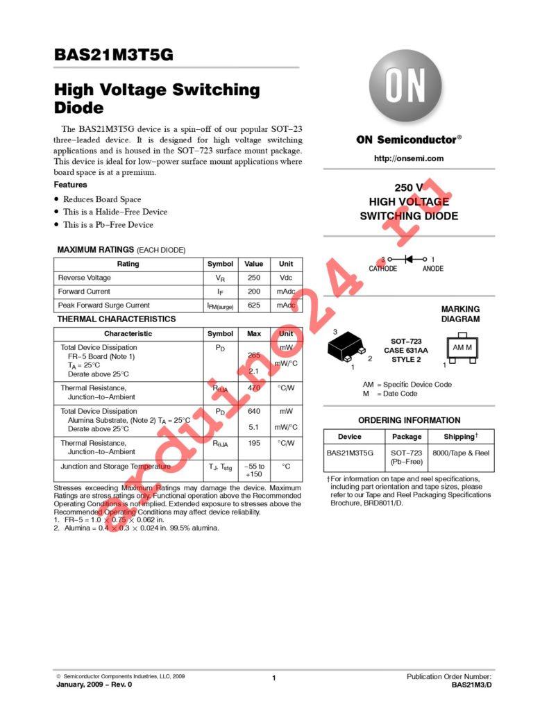 BAS21M3T5G datasheet