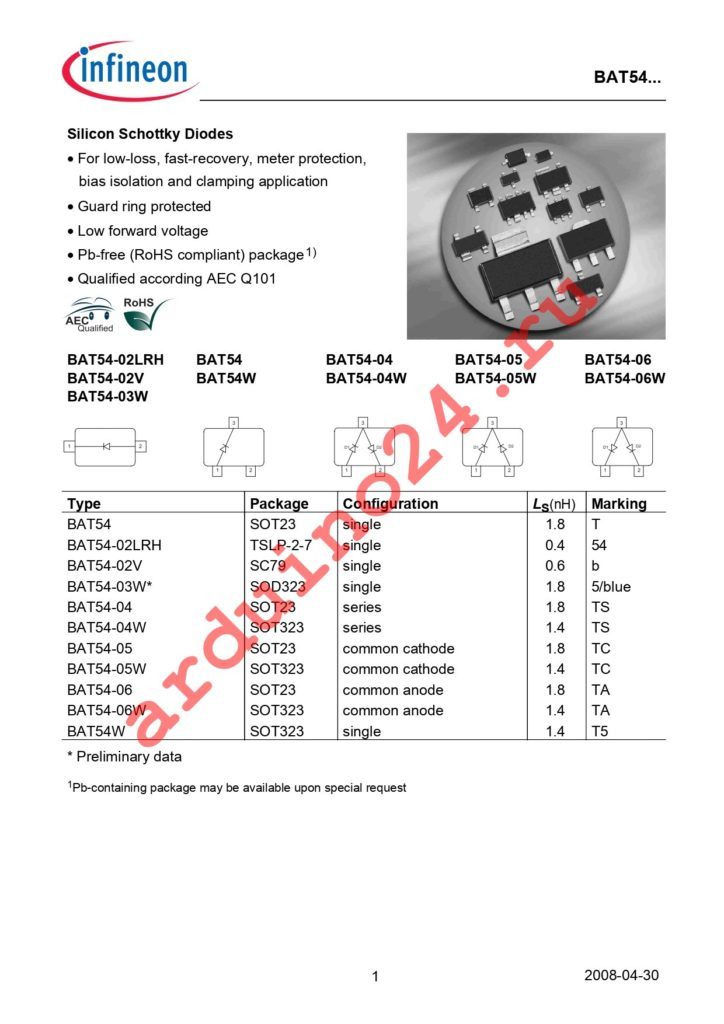 BAT 54-02LRH E6327 datasheet