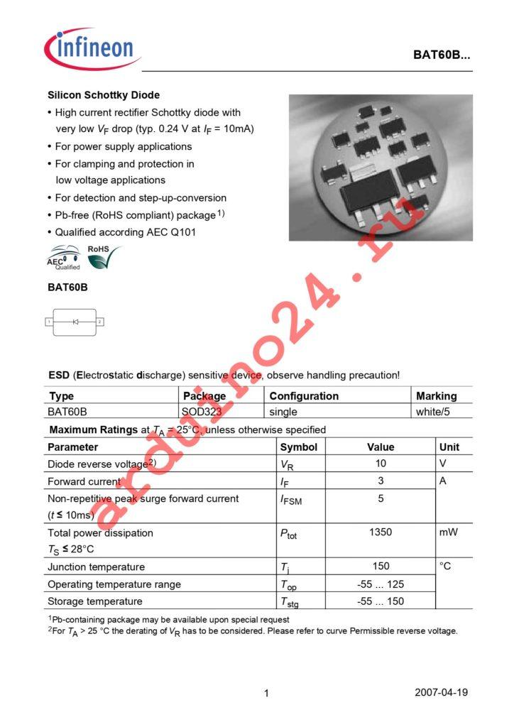 BAT 60B E6327 datasheet