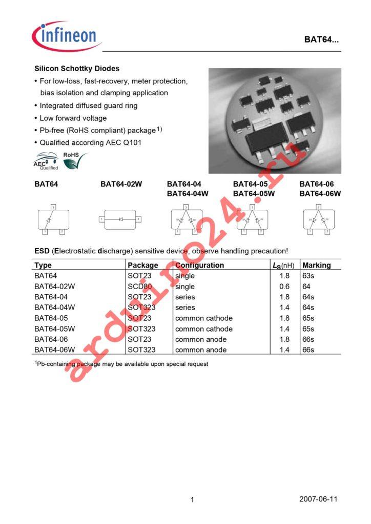 BAT 64-02W E6327 datasheet