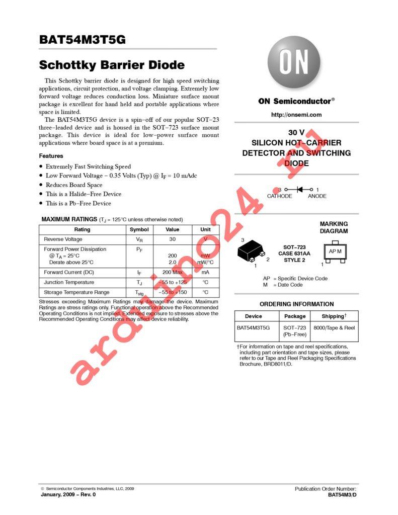 BAT54M3T5G datasheet