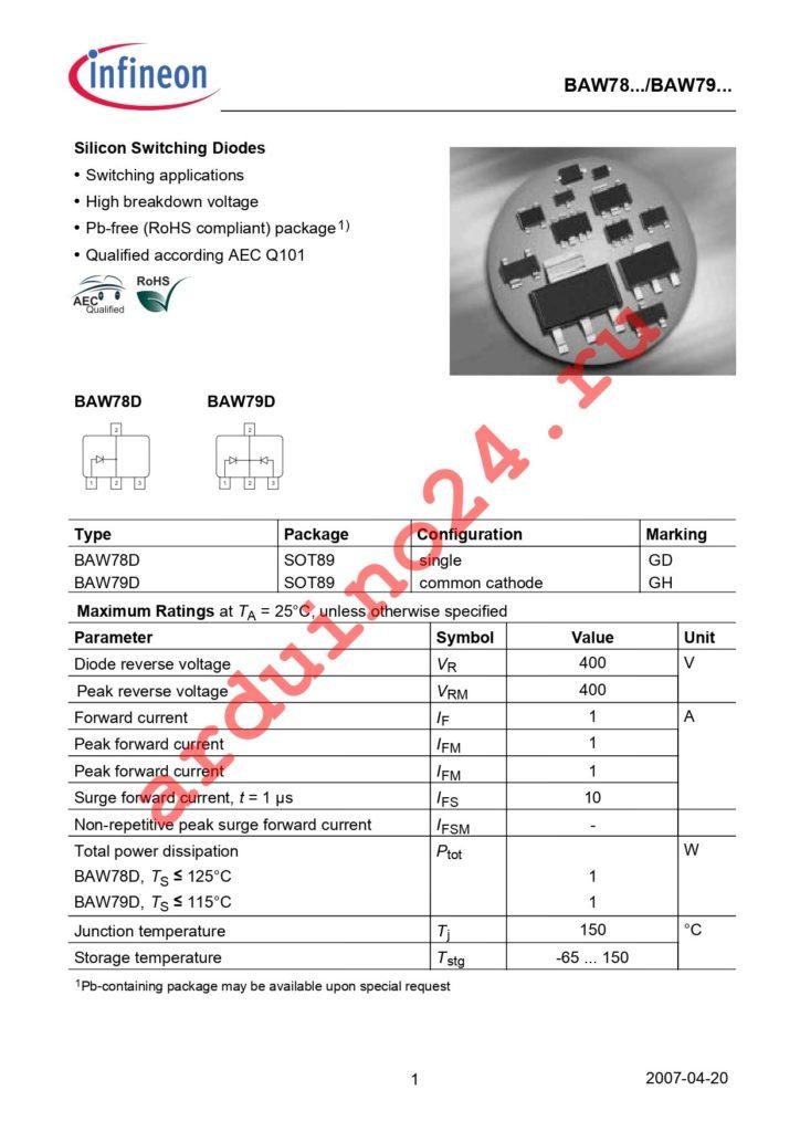 BAW78DE6327 datasheet