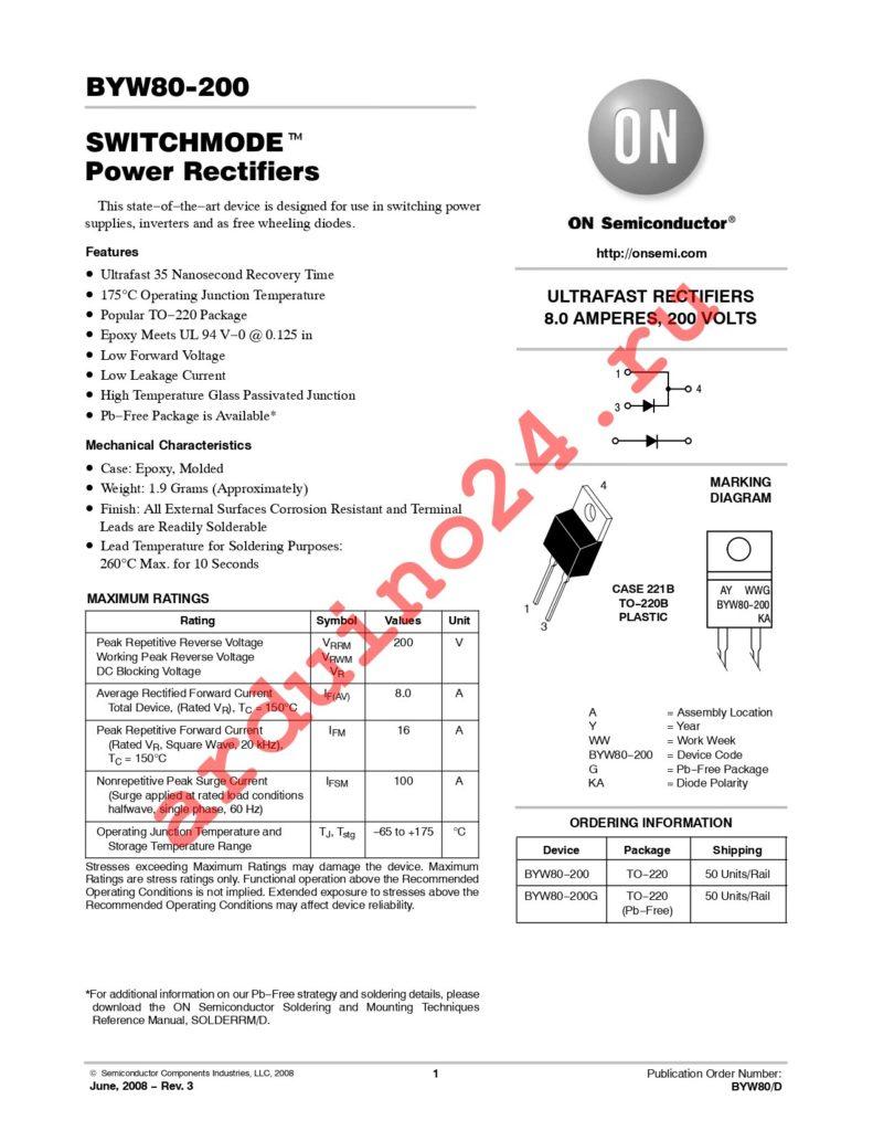 BYW80-200G datasheet