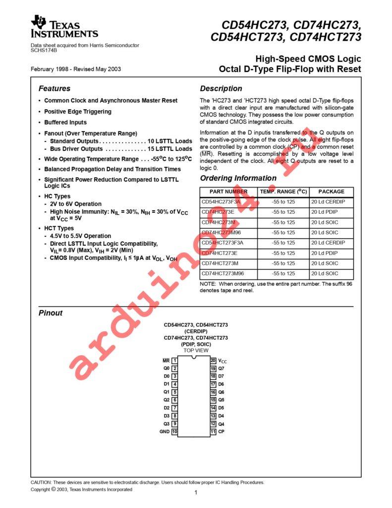 CD74HCT273EE4 datasheet