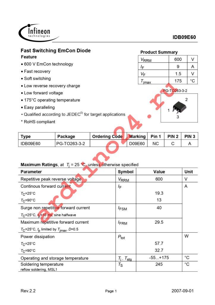 IDB09E60 datasheet