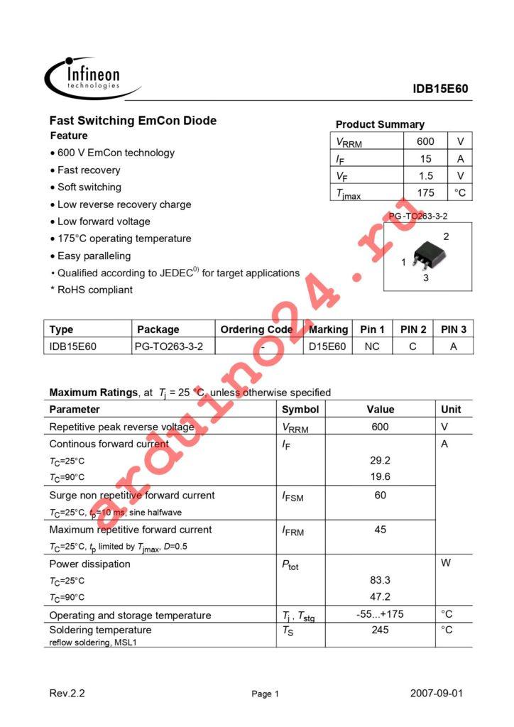 IDB15E60 datasheet