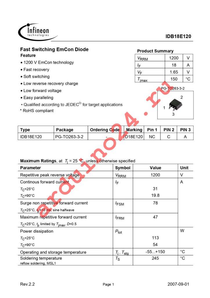 IDB18E120 datasheet