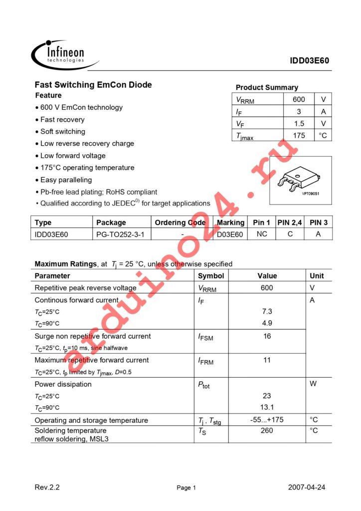 IDD03E60 datasheet