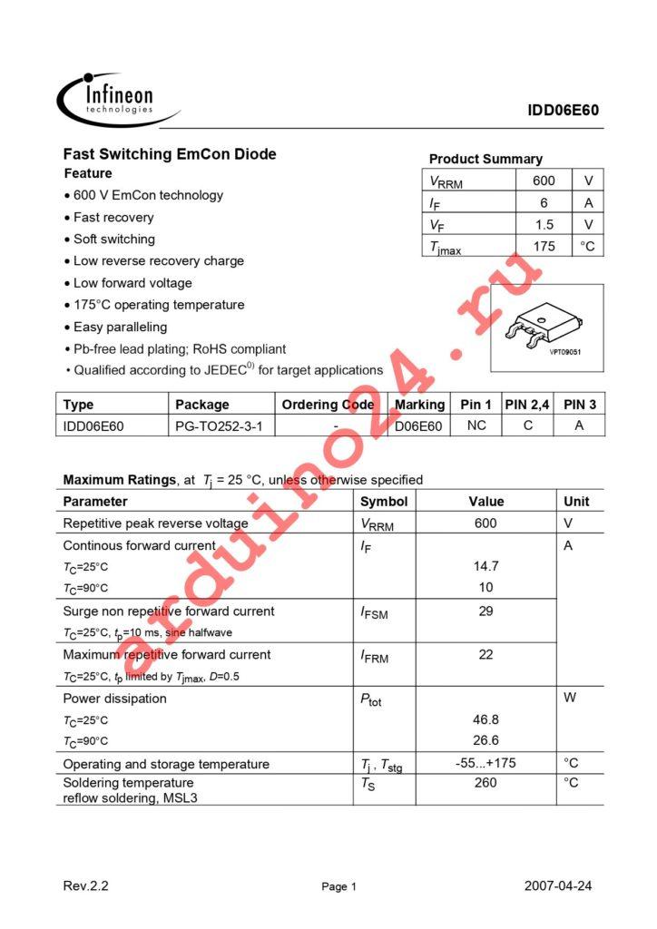 IDD06E60 datasheet