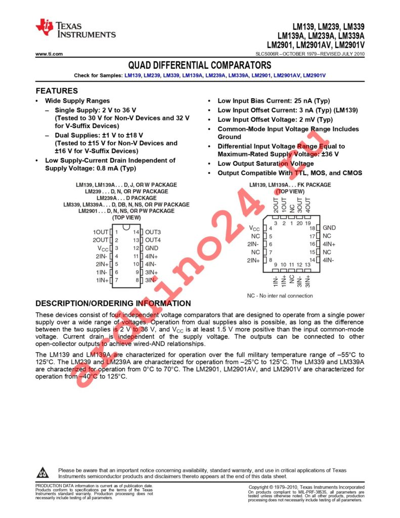 LM139ADG4 datasheet