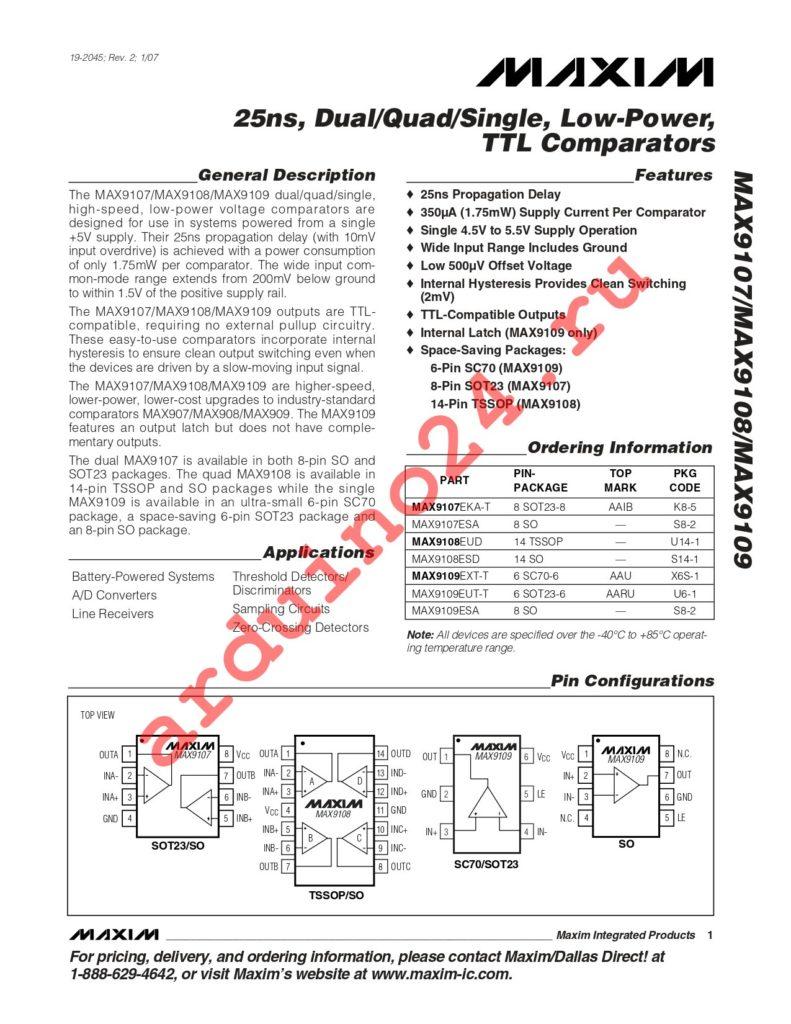MAX9108EUD+T datasheet