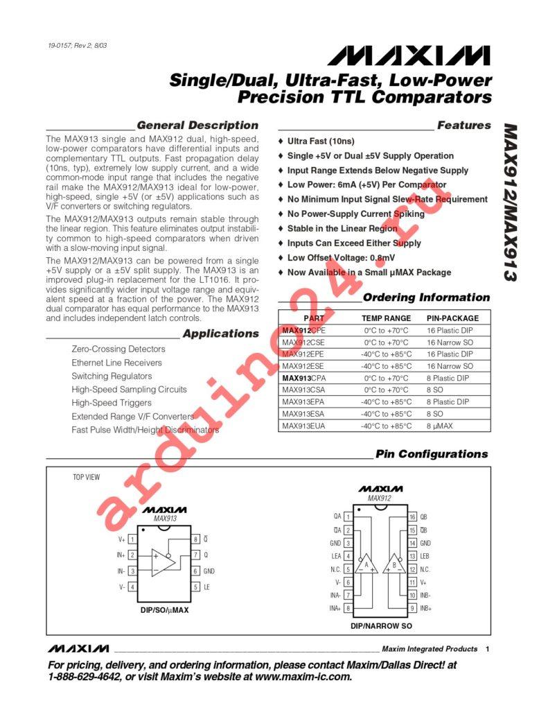 MAX913CPA datasheet