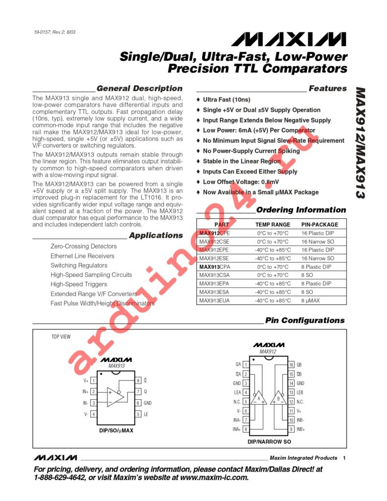 MAX913CSA+T datasheet