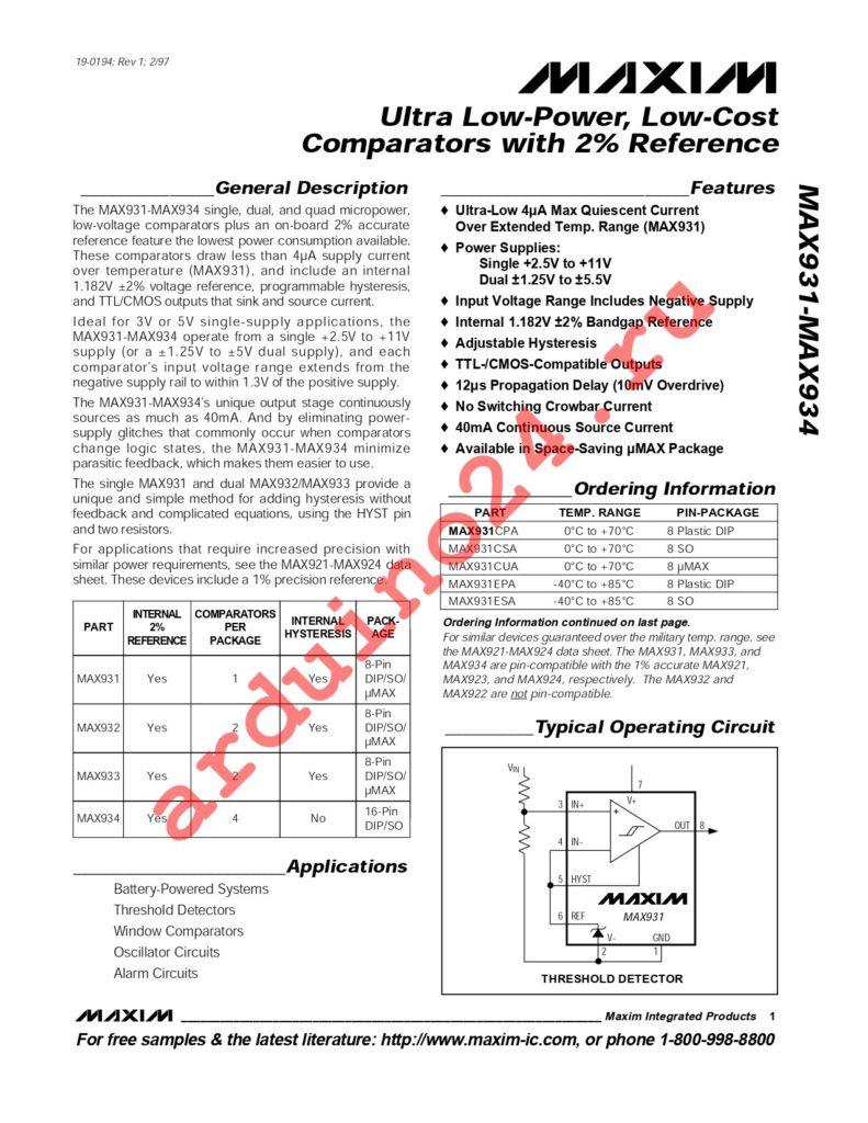 MAX933ESA+T datasheet