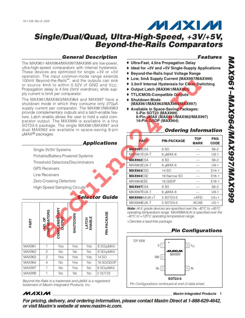 MAX961ESA datasheet