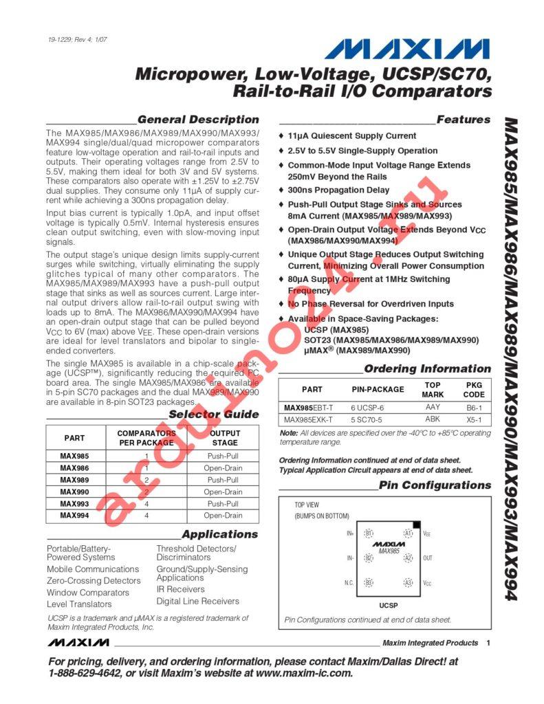 MAX993ESD+T datasheet
