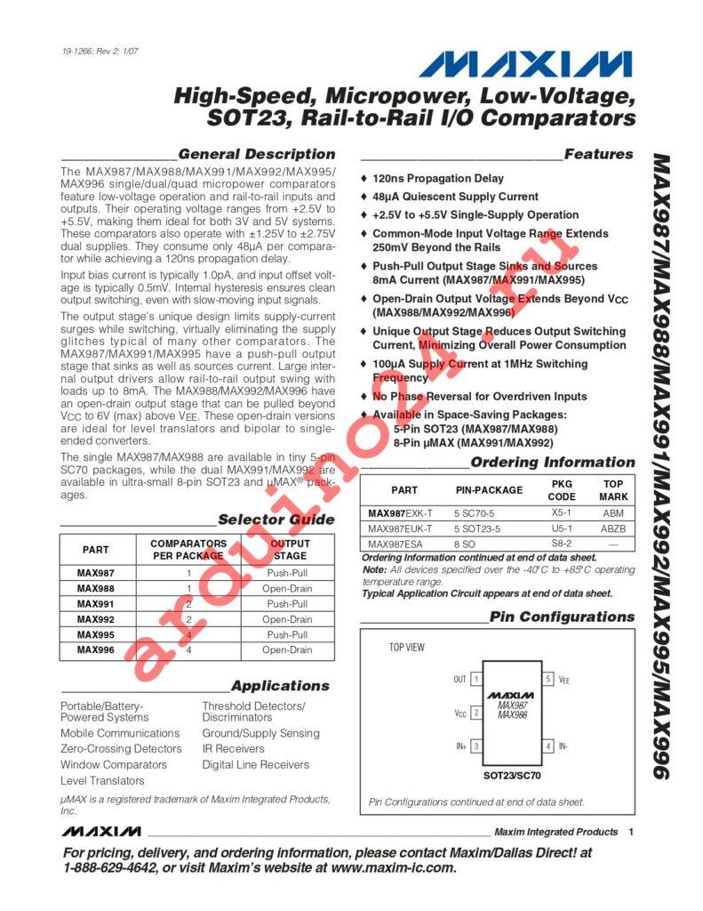 MAX995ESD+T datasheet