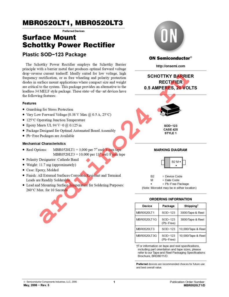 MBR0520LT1G datasheet