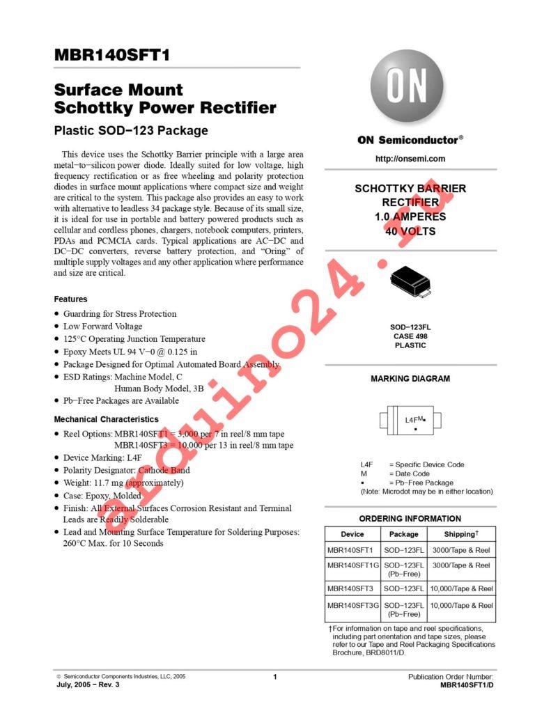 MBR140SFT1G datasheet