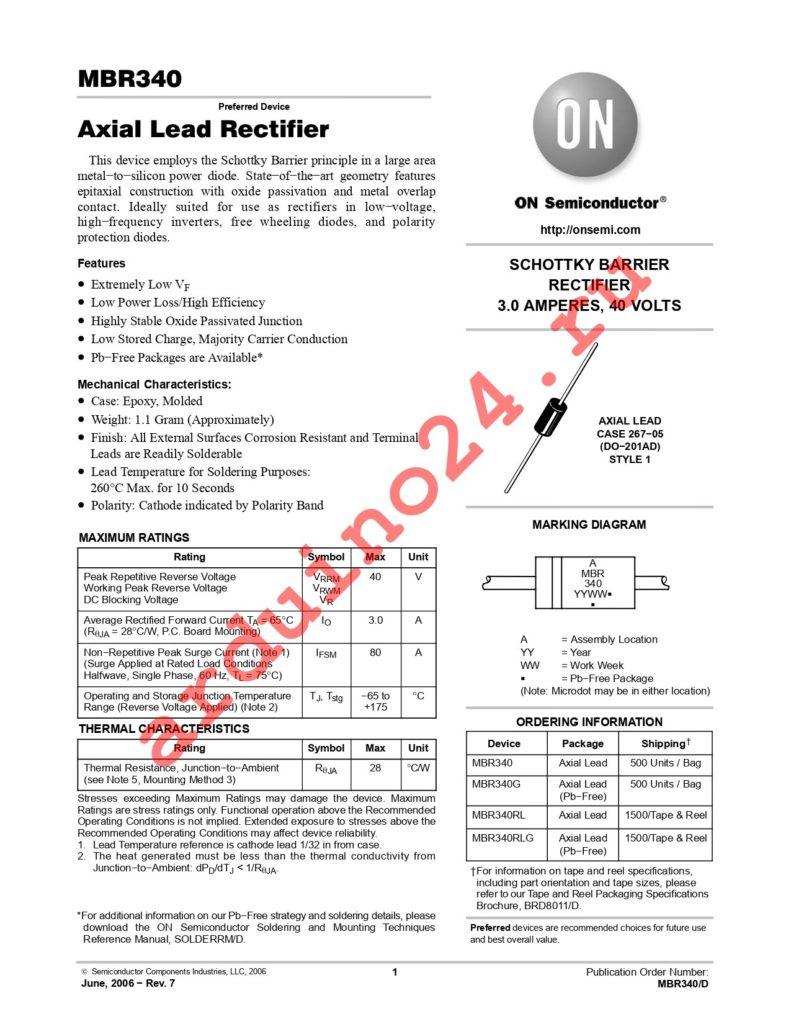 MBR340RLG datasheet