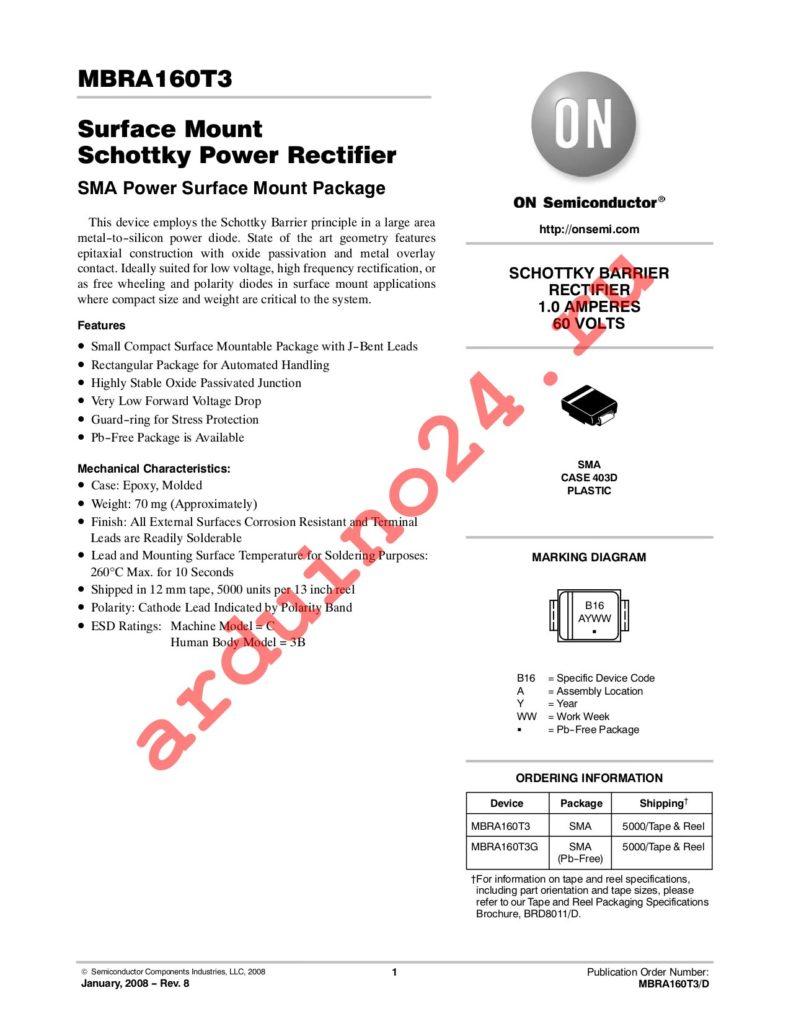 MBRA160T3G datasheet