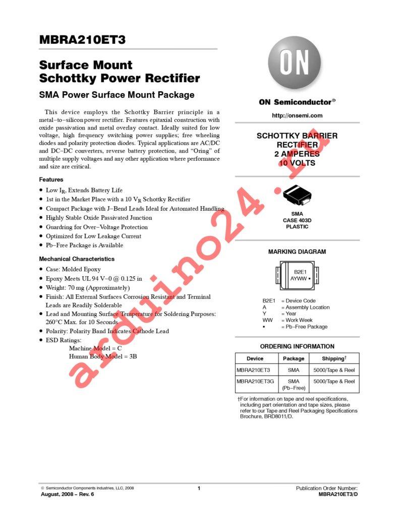 MBRA210ET3G datasheet