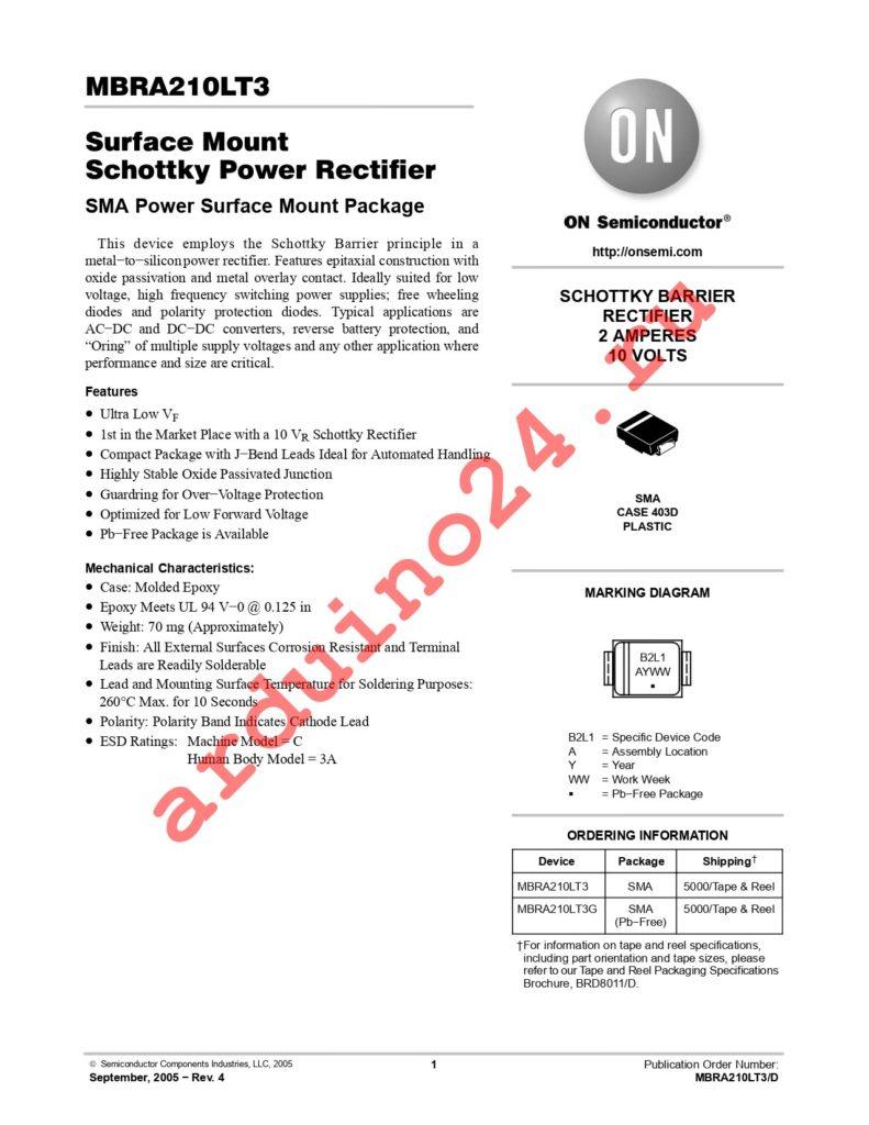 MBRA210LT3G datasheet