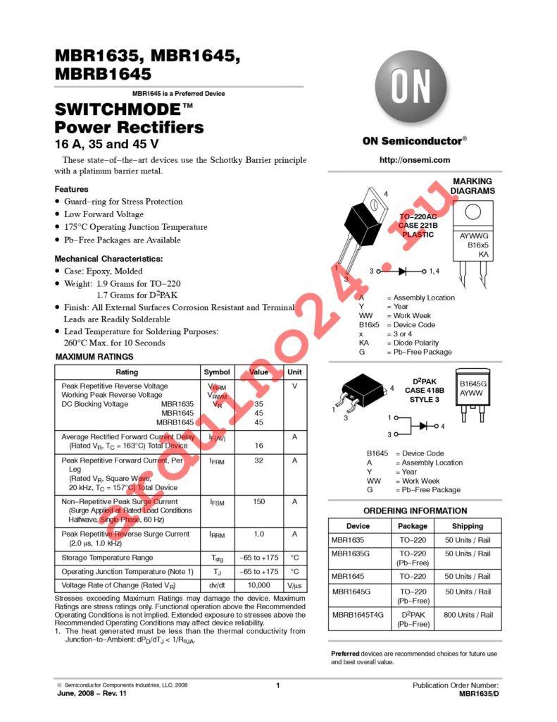 MBRB1645T4G datasheet