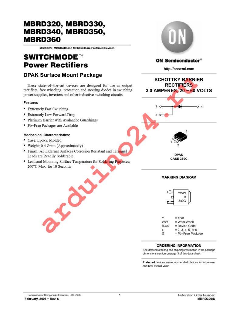 MBRD320RLG datasheet