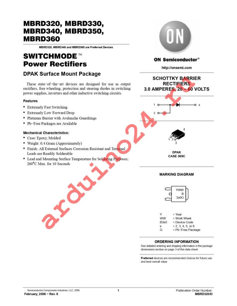MBRD350RLG datasheet