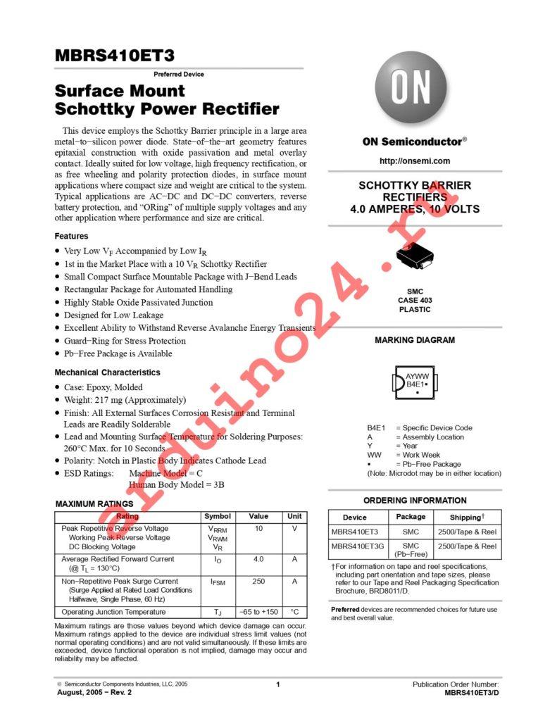 MBRS410ET3G datasheet