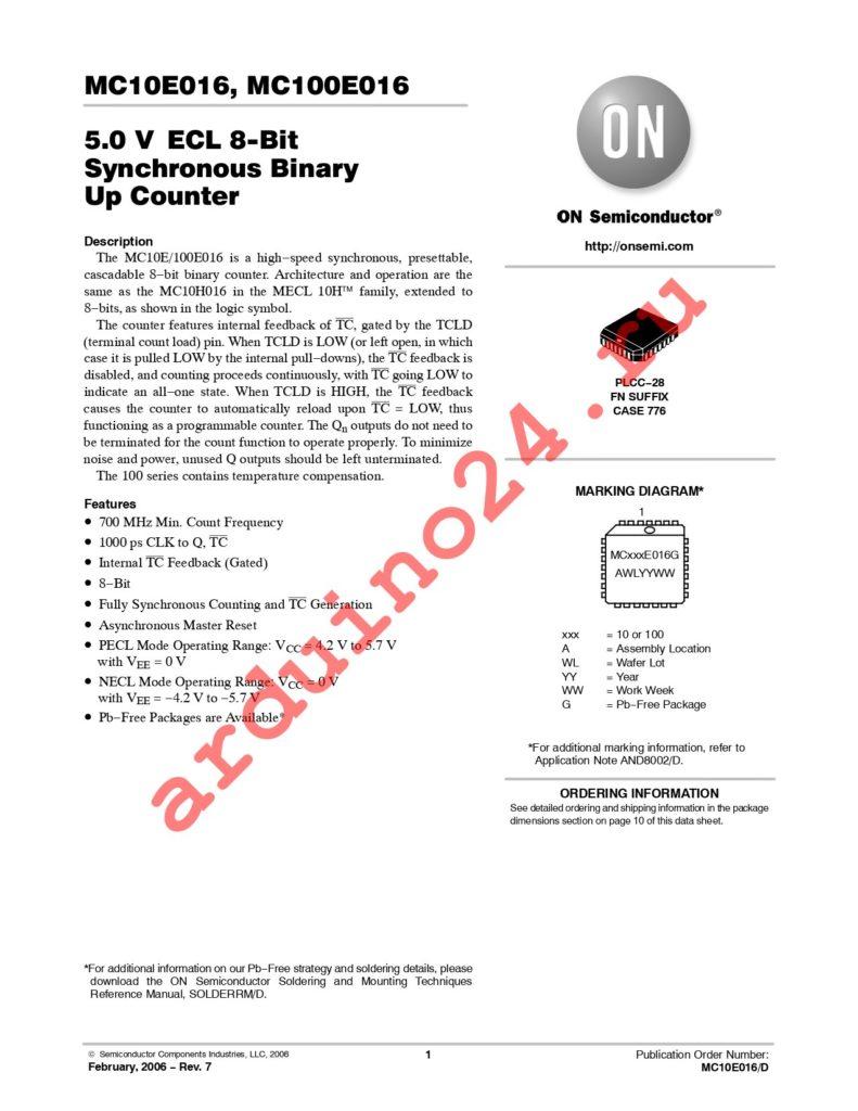 MC10E016FNR2 datasheet