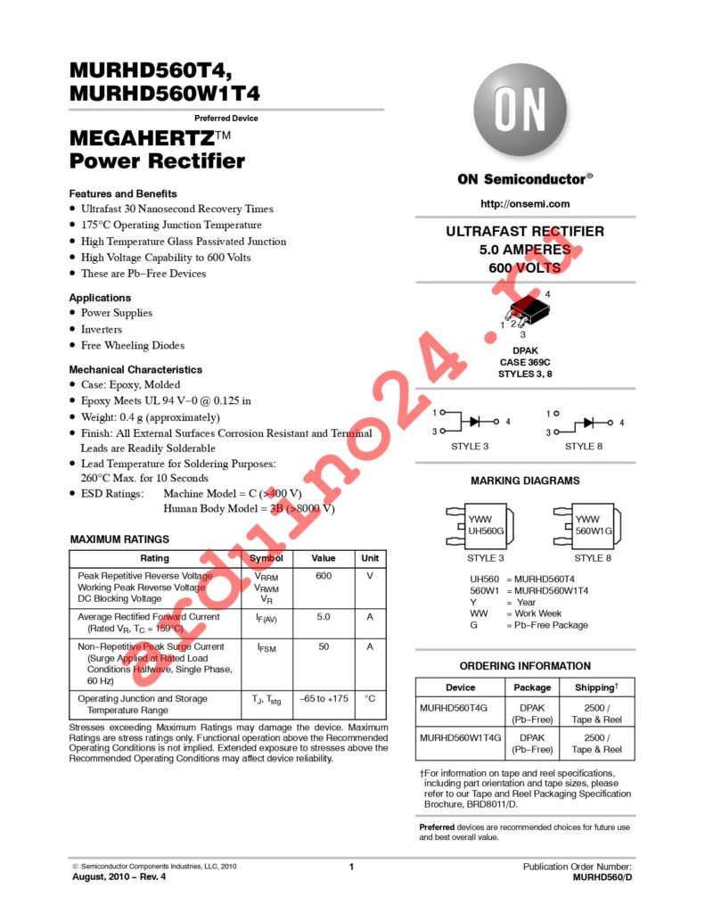 MURHD560T4G datasheet