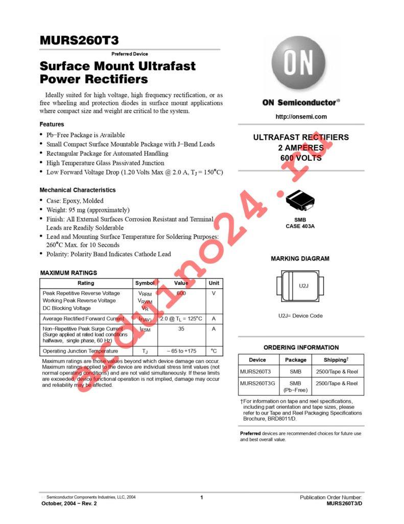MURS260T3G datasheet