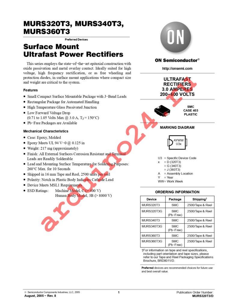 MURS340T3G datasheet
