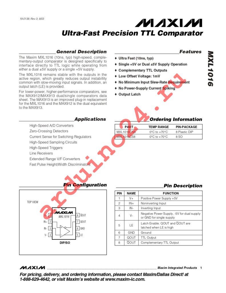 MXL1016CS8+T datasheet