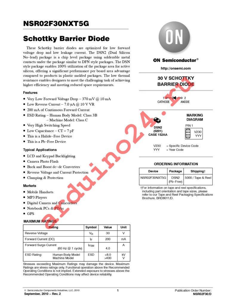 NSR02F30NXT5G datasheet