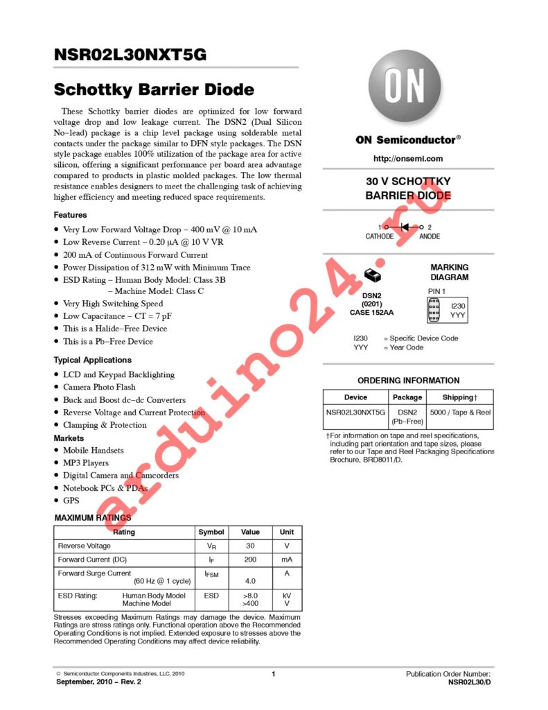 NSR02L30NXT5G datasheet