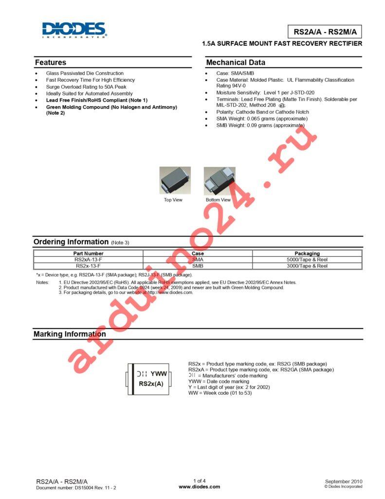 RS2AA-13 datasheet
