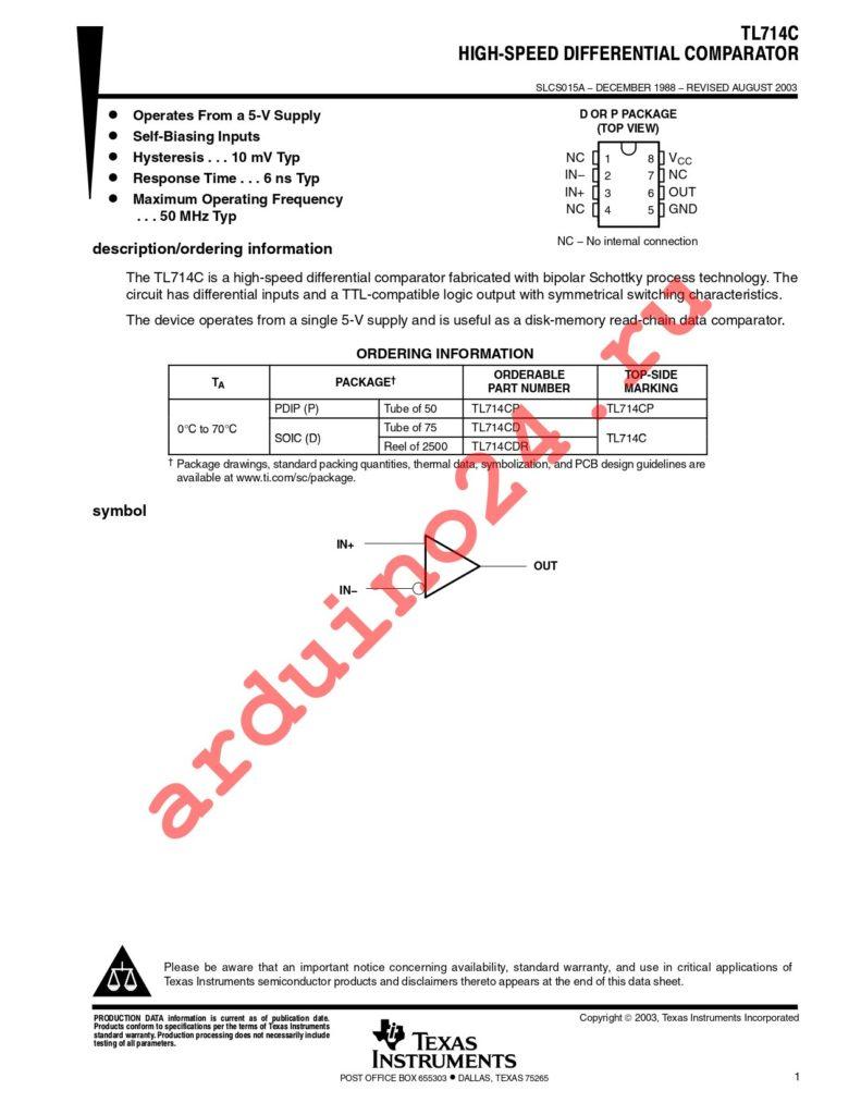 TL714CDG4 datasheet